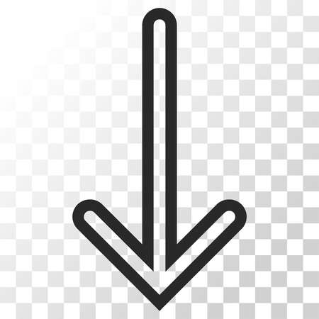 Arrow Down vector icon. Image style is a flat gray color pictogram symbol.