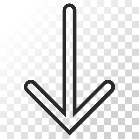 Arrow Down vector icon. Image style is a flat gray color iconic symbol.