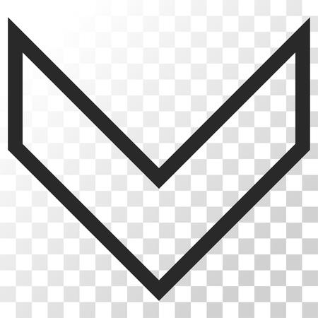 arrowhead: Arrowhead Down vector icon. Image style is a flat gray color icon symbol. Illustration