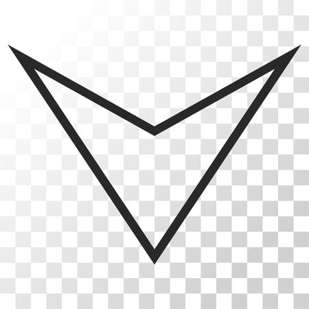 arrowhead: Arrowhead Down vector icon. Image style is a flat gray color pictogram symbol.