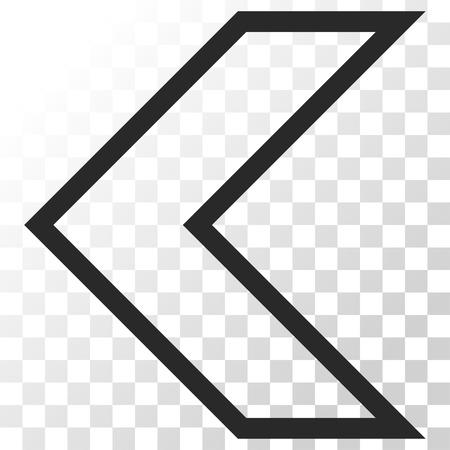 arrowhead: Arrowhead Left vector icon. Image style is a flat gray color pictograph symbol.