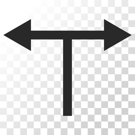 double cross: Bifurcation Arrows Left Right vector icon. Image style is a flat gray color iconic symbol.