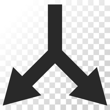 bifurcation: Bifurcation Arrow Down vector icon. Image style is a flat gray color pictogram symbol.
