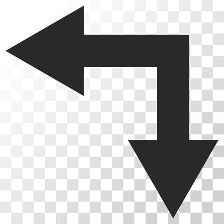 bifurcation: Bifurcation Arrow Left Down vector icon. Image style is a flat gray color pictogram symbol.