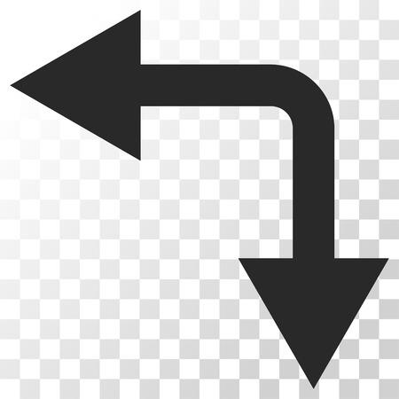 bifurcation: Bifurcation Arrow Left Down vector icon. Image style is a flat gray color pictograph symbol. Illustration