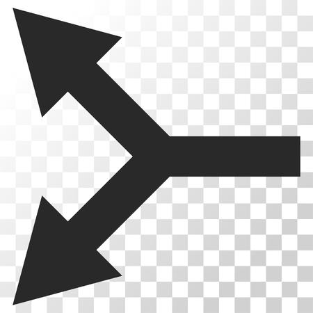 bifurcation: Bifurcation Arrow Left vector icon. Image style is a flat gray color pictograph symbol.