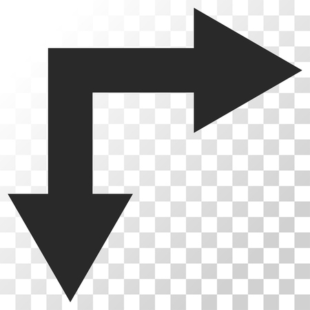bifurcation: Bifurcation Arrow Right Down vector icon. Image style is a flat gray color icon symbol.