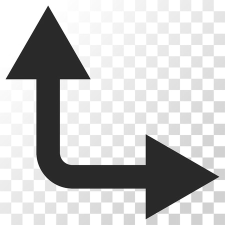 bifurcation: Bifurcation Arrow Right Up vector icon. Image style is a flat gray color icon symbol. Illustration