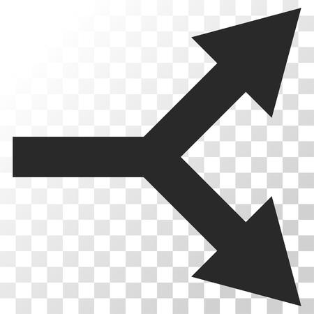 bifurcation: Bifurcation Arrow Right vector icon. Image style is a flat gray color iconic symbol. Illustration