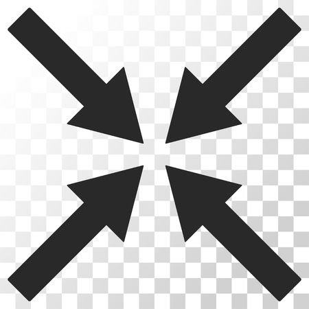 collide: Center Arrows vector icon. Image style is a flat gray color pictogram symbol.