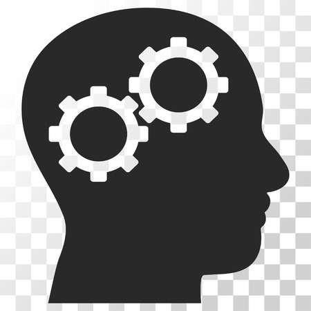 invent clever: Brain Gears vector icon. Image style is a flat gray color icon symbol. Illustration