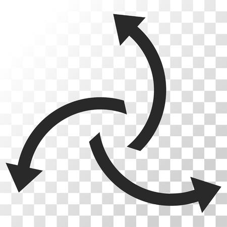 Icône de vecteur de flèches centrifuges. Le style d'image est un symbole d'icône de couleur grise plate.