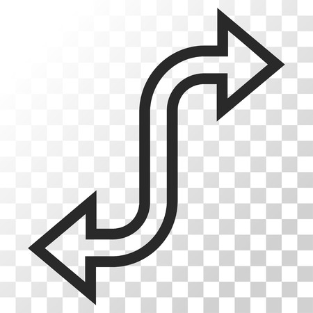 Curved Exchange Arrow vector icon. Image style is a flat gray color iconic symbol.