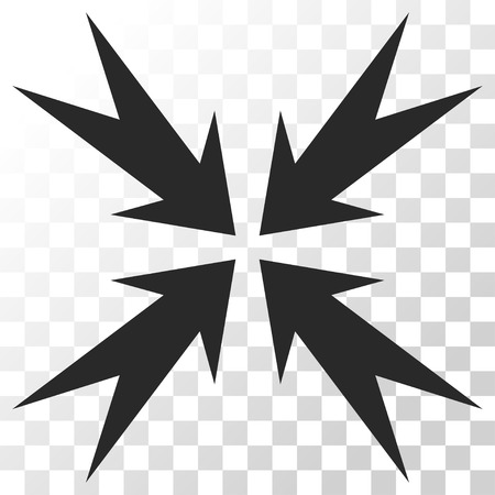 collide: Compression Arrows vector icon. Image style is a flat gray color pictograph symbol.