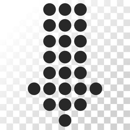 failing: Dotted Arrow Down vector icon. Image style is a flat gray color pictogram symbol.