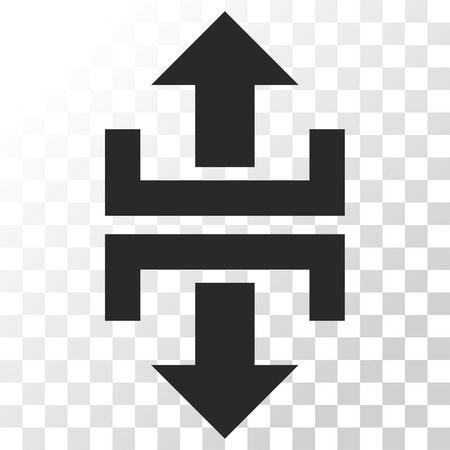 vertical divider: Divide Vertical Direction vector icon. Image style is a flat gray color pictogram symbol.