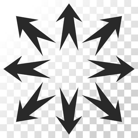 Ampliar el icono de las flechas del vector. estilo de la imagen es un símbolo gris del icono del color plano.