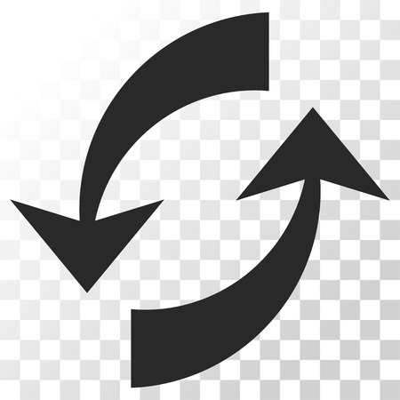 Exchange Arrows vector icon. Image style is a flat gray color pictogram symbol.