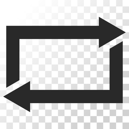 restoring: Exchange Arrows vector icon. Image style is a flat gray color pictograph symbol. Illustration
