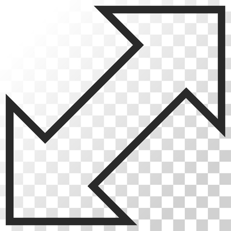 inverse: Exchange Diagonal vector icon. Image style is a flat gray color iconic symbol.