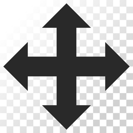 outwards: Expand vector icon. Image style is a flat gray color iconic symbol.