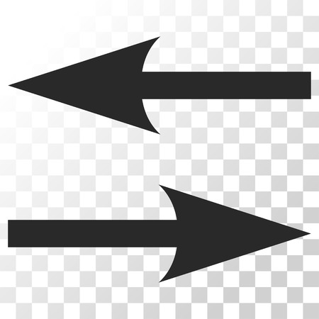 Horizontal Exchange Arrows vector icon. Image style is a flat gray color pictograph symbol.