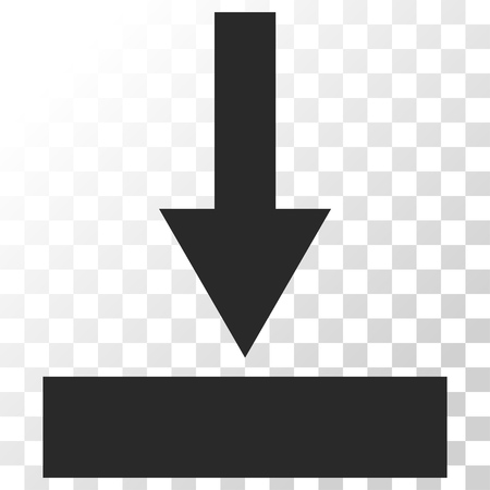 at the bottom of: Move Bottom vector icon. Image style is a flat gray color icon symbol. Illustration