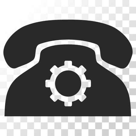 Phone Settings vector icon. Image style is a flat gray color pictogram symbol. Illustration