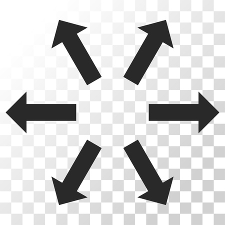 outwards: Radial Arrows vector icon. Image style is a flat gray color pictogram symbol. Illustration