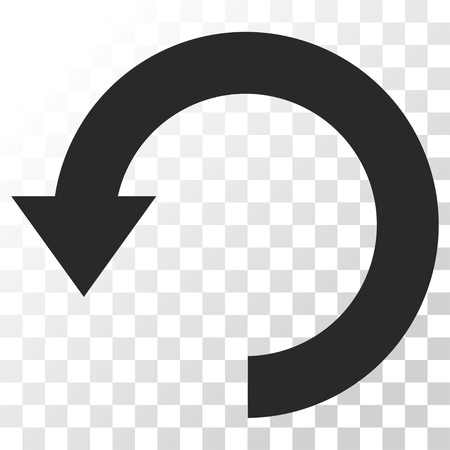 Rotate Down vector icon. Image style is a flat gray color pictograph symbol.