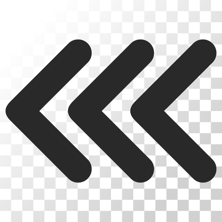 triple: Triple Arrowhead Left vector icon. Image style is a flat gray color iconic symbol.