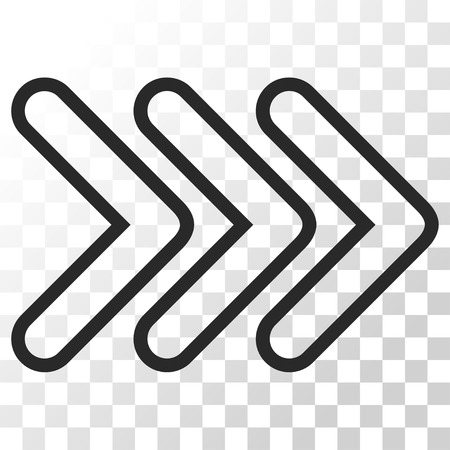 Triple Pointer Right vector icon. Image style is a flat gray color iconic symbol.