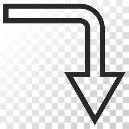 turn down: Turn Down vector icon. Image style is a flat gray color pictograph symbol. Illustration
