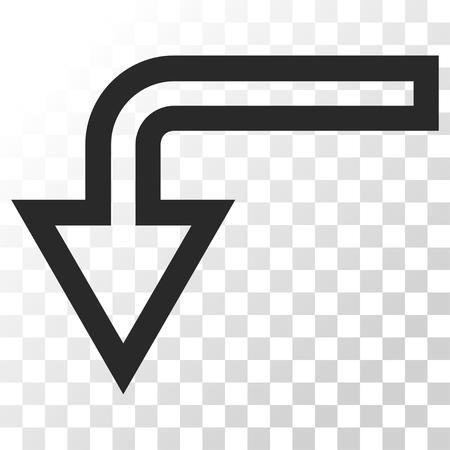 turn down: Turn Down vector icon. Image style is a flat gray color pictogram symbol.