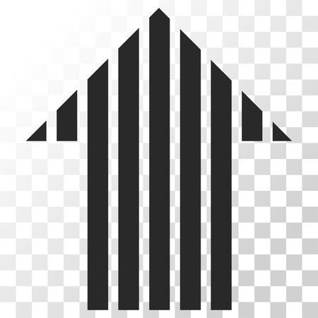 Stripe Arrow Up vector icon. Image style is a flat gray color icon symbol.