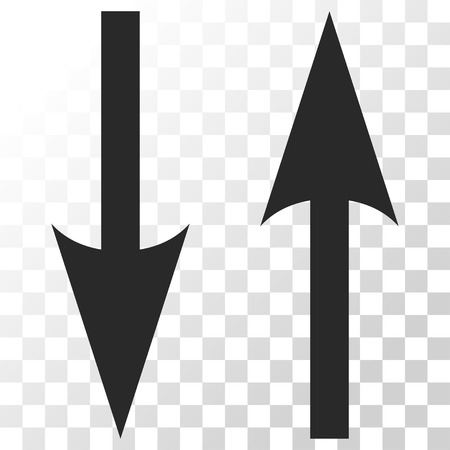 Vertical Exchange Arrows vector icon. Image style is a flat gray color pictograph symbol.