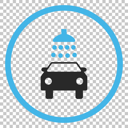 sanitize: Car Shower vector icon. Image style is a flat blue and gray icon symbol.