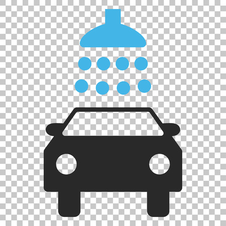 antiseptic: Car Shower vector icon. Image style is a flat blue and gray pictograph symbol. Illustration