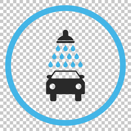 disinfect: Car Shower vector icon. Image style is a flat blue and gray pictograph symbol. Illustration