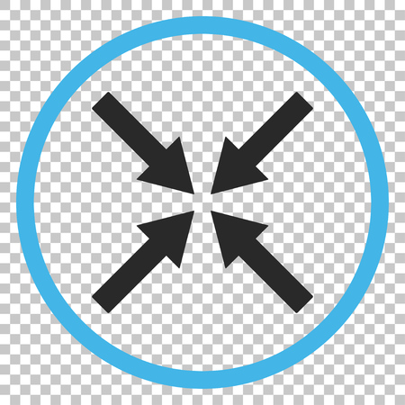 Center Arrows vector icon. Image style is a flat blue and gray icon symbol.
