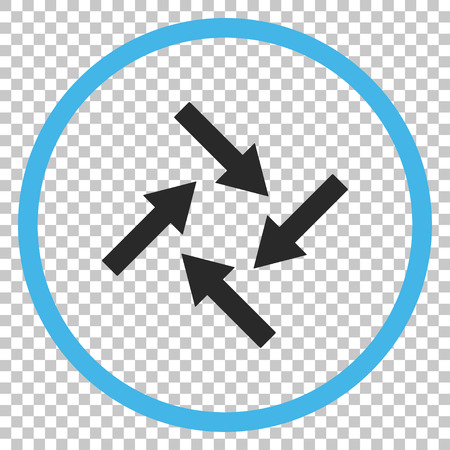 synchronize: Centripetal Arrows vector icon. Image style is a flat blue and gray pictogram symbol.