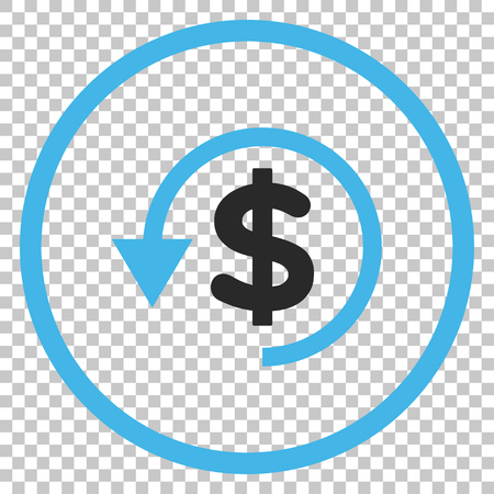 restoring: Chargeback vector icon. Image style is a flat blue and gray iconic symbol.