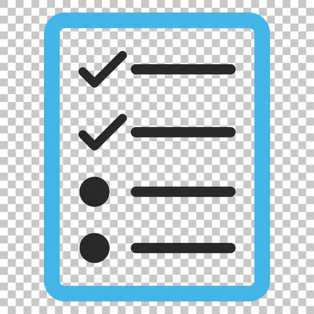 Checklist Page vector icon. Image style is a flat blue and gray pictogram symbol.
