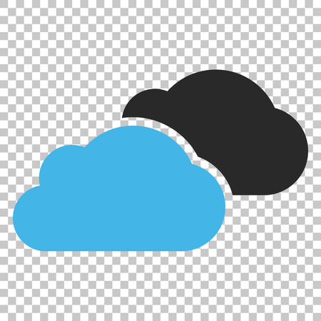 saas: Clouds vector icon. Image style is a flat blue and gray pictograph symbol. Illustration