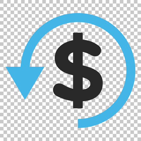 Chargeback vector icon. Image style is a flat blue and gray pictograph symbol. Illustration