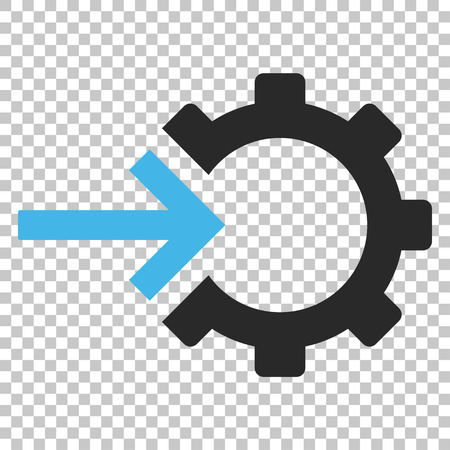 Cog Integration vector icon. Image style is a flat blue and gray pictogram symbol.