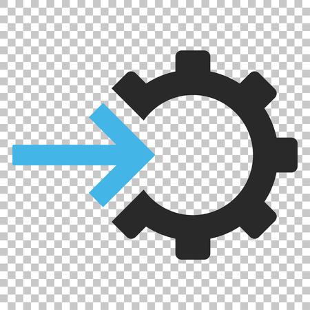 Icône de vecteur d'intégration Cog. Le style d'image est un symbole de pictogramme plat bleu et gris. Banque d'images - 63562433