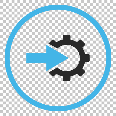 Cog Integration vector icon. Image style is a flat blue and gray iconic symbol.