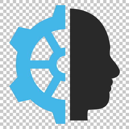 Cyborg Gear vector icon. Image style is a flat blue and gray pictograph symbol. Illustration