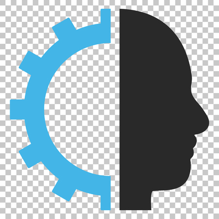 Cyborg Gear vector icon. Image style is a flat blue and gray pictogram symbol.